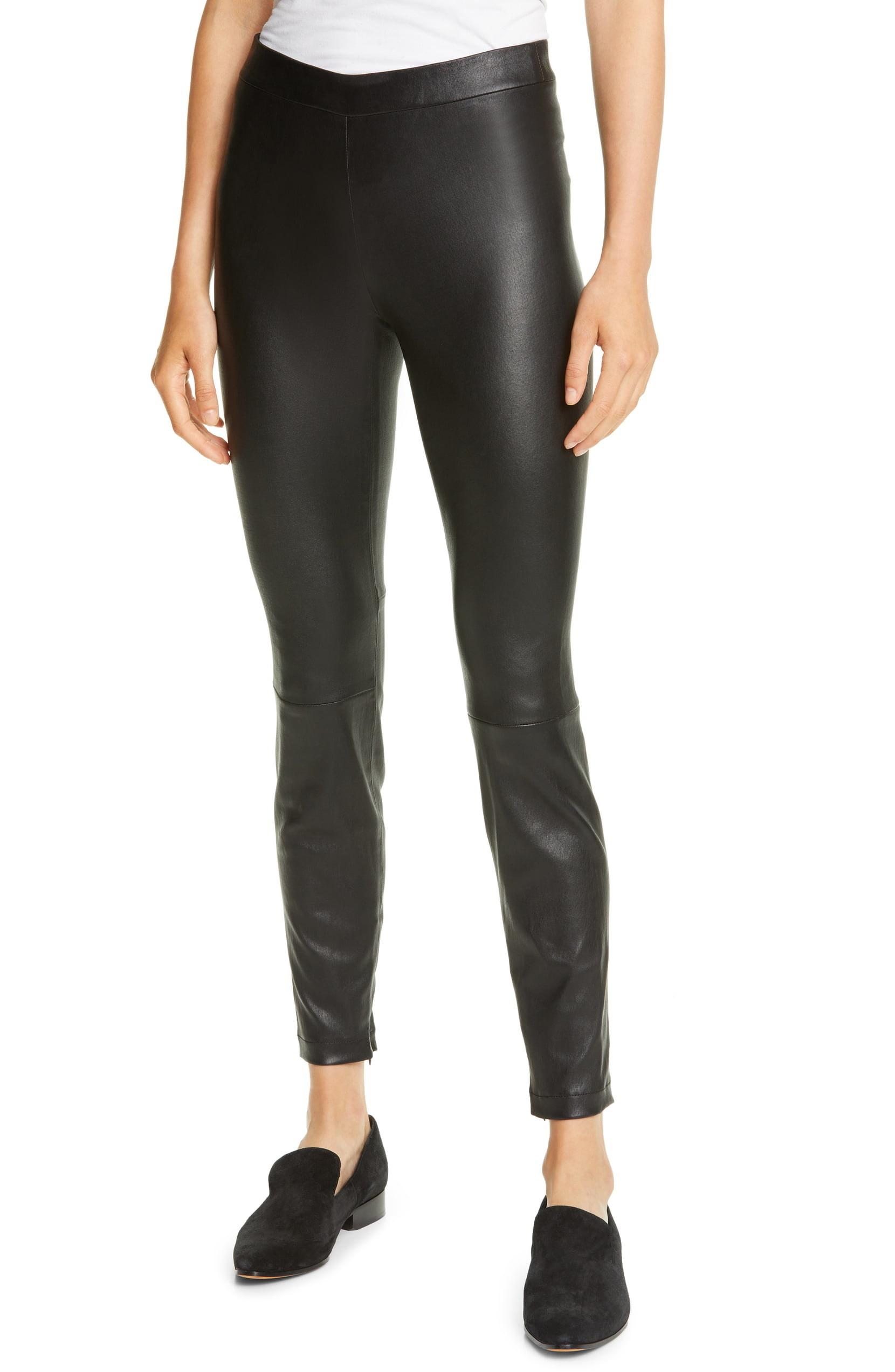 Model wearing the black leather leggings