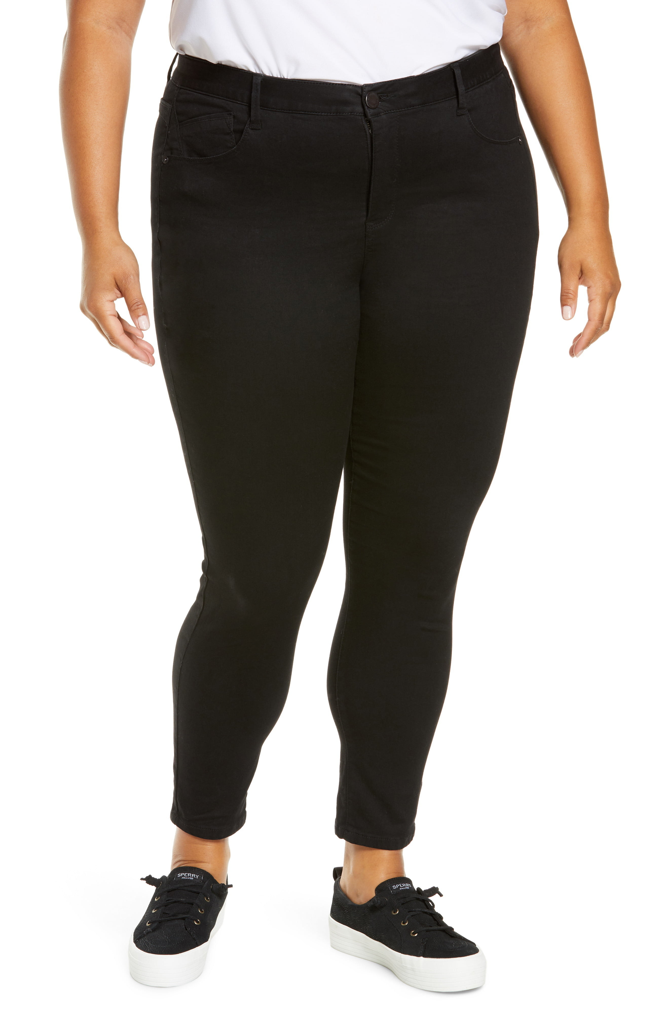 Closeup of Wit & Wisdom Ab-solution ankle skinny jeans on plus-size model