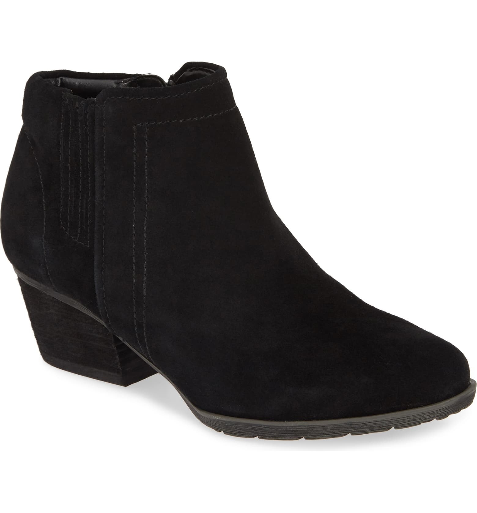 The black suede boots with a western-style stacked low heel