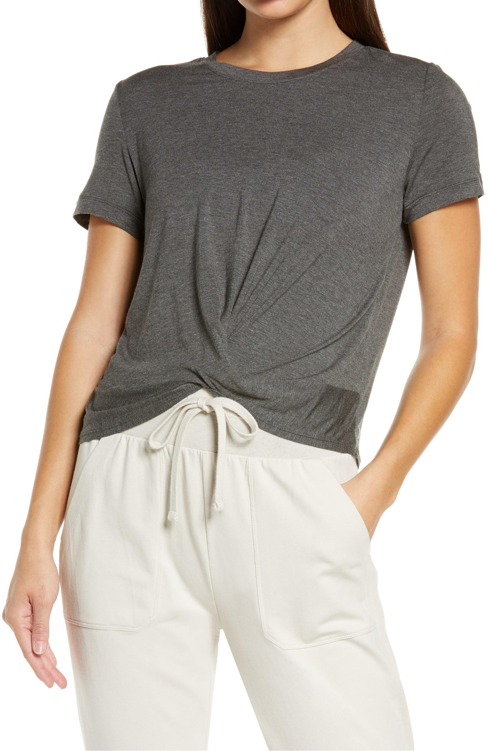 Model wearing Zella Peaceful Twist T-shirt in gray