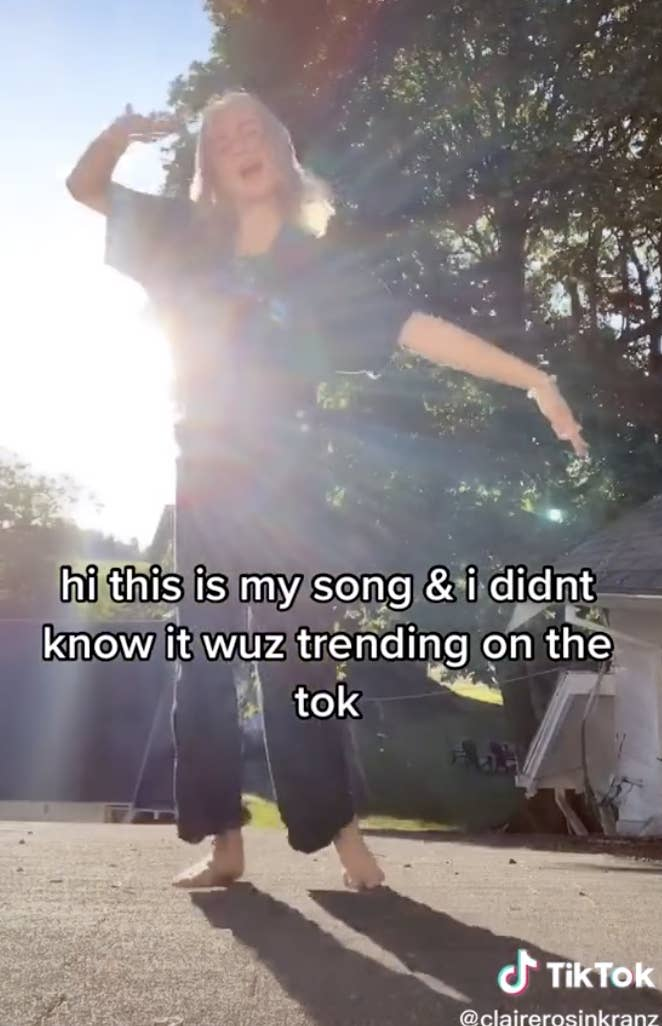 """Claire with text saying, """"Hi this is my song and I didn't know it was trending on the Tok"""""""