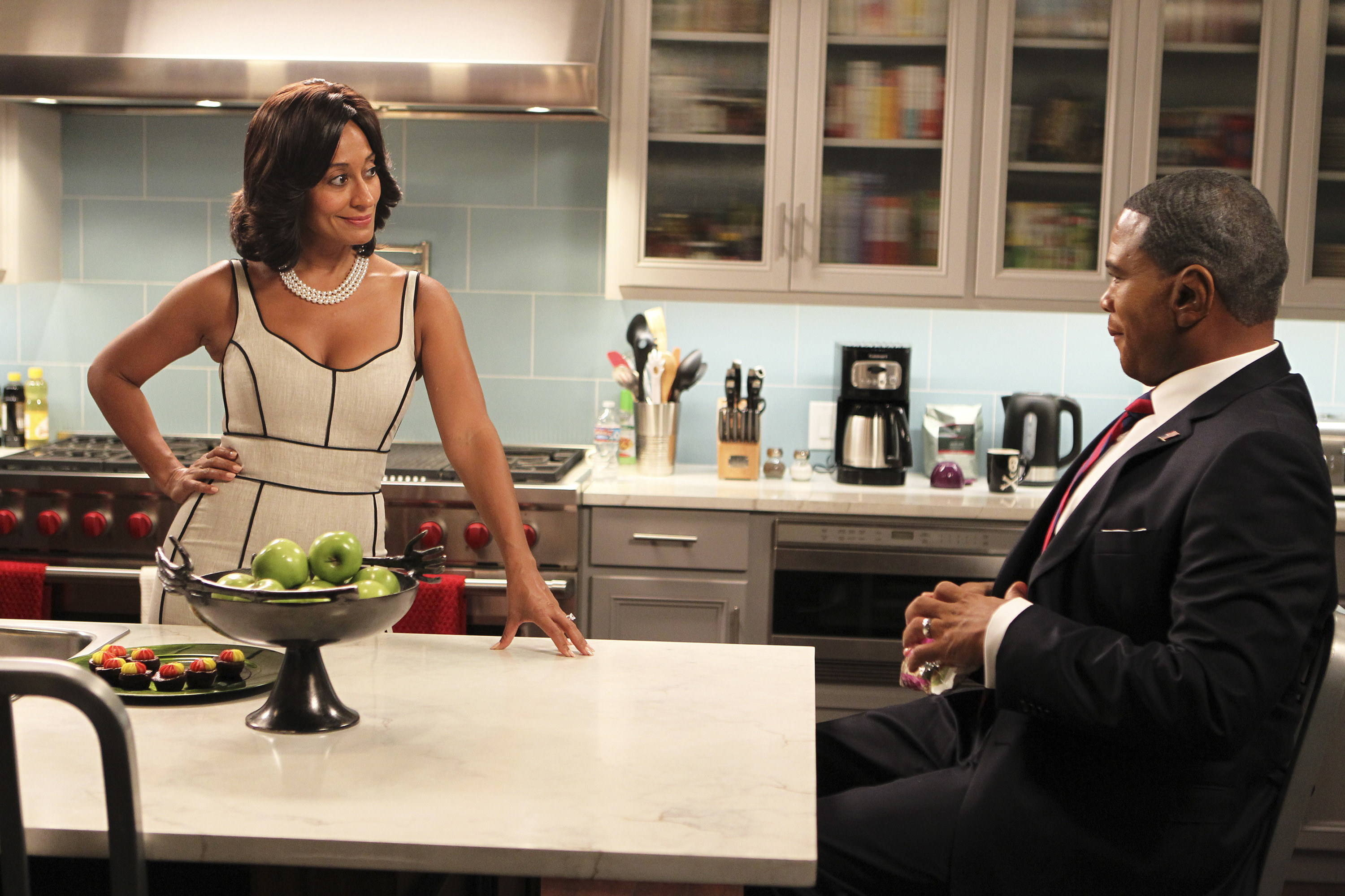 """Tracee Ellis Ross in character during a """"Black-ish"""" scene"""