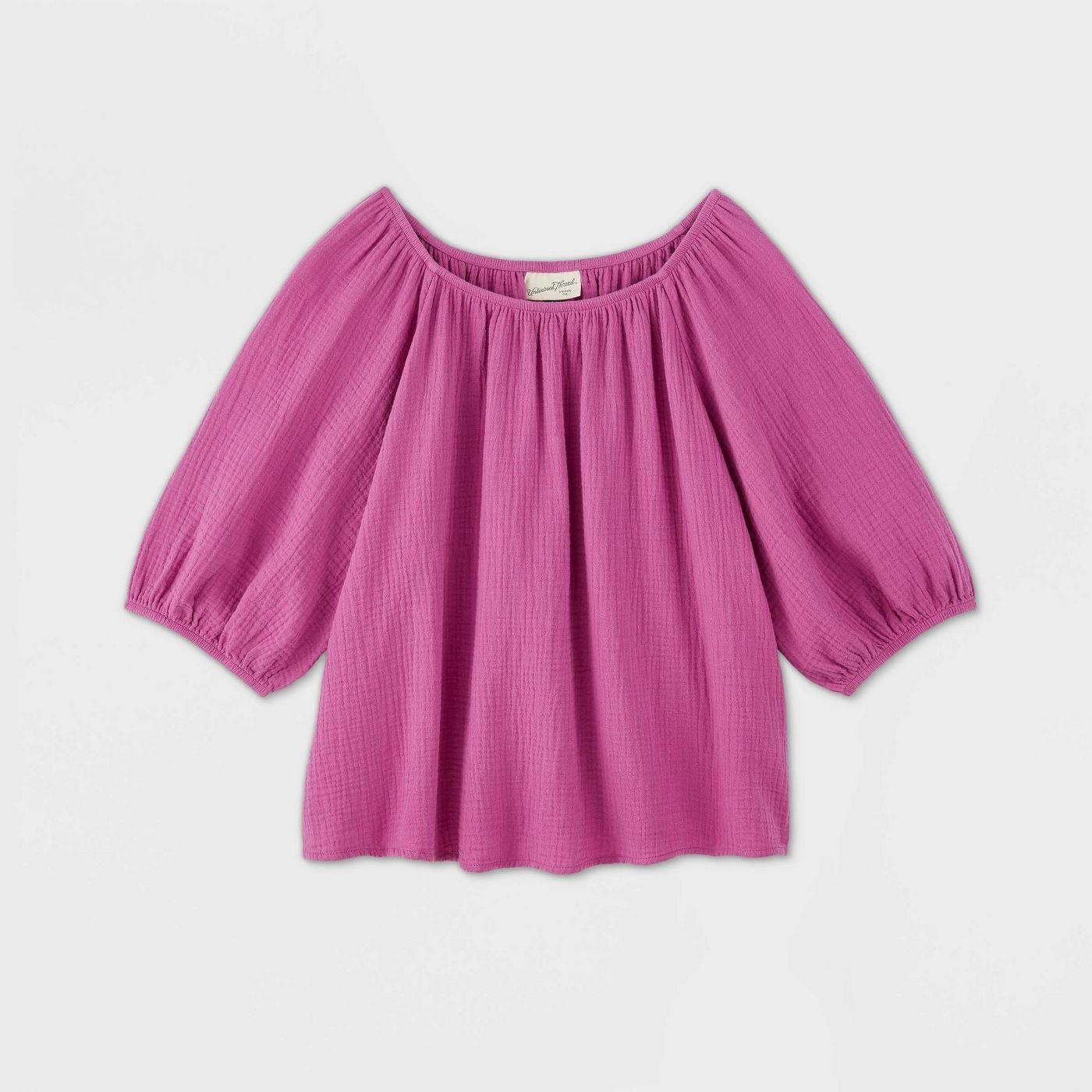 Puff-sleeve scoop-neck blouse in pink