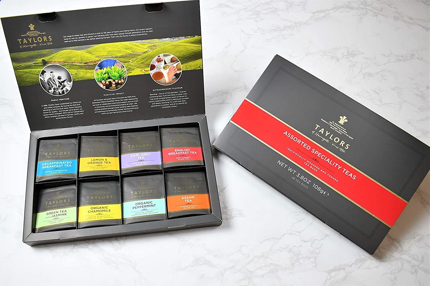 A box with the variety of teas