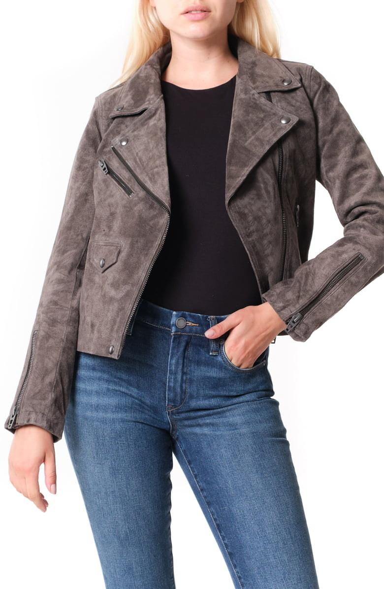 Model wearing jacket in gray