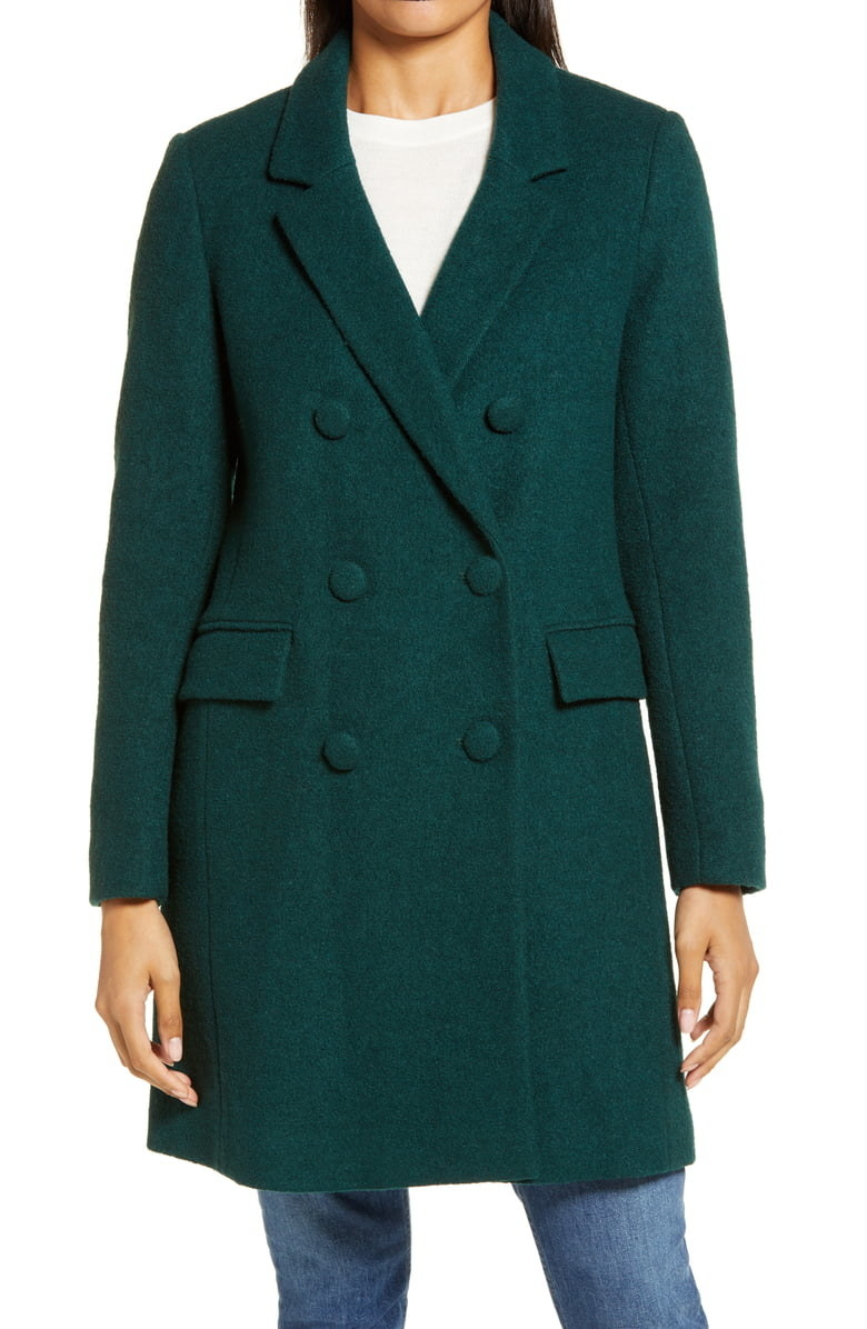 Model wearing the double-breasted coat