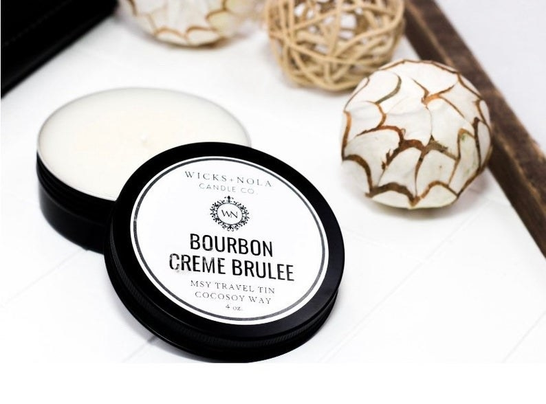 A bourbon creme brulee candle