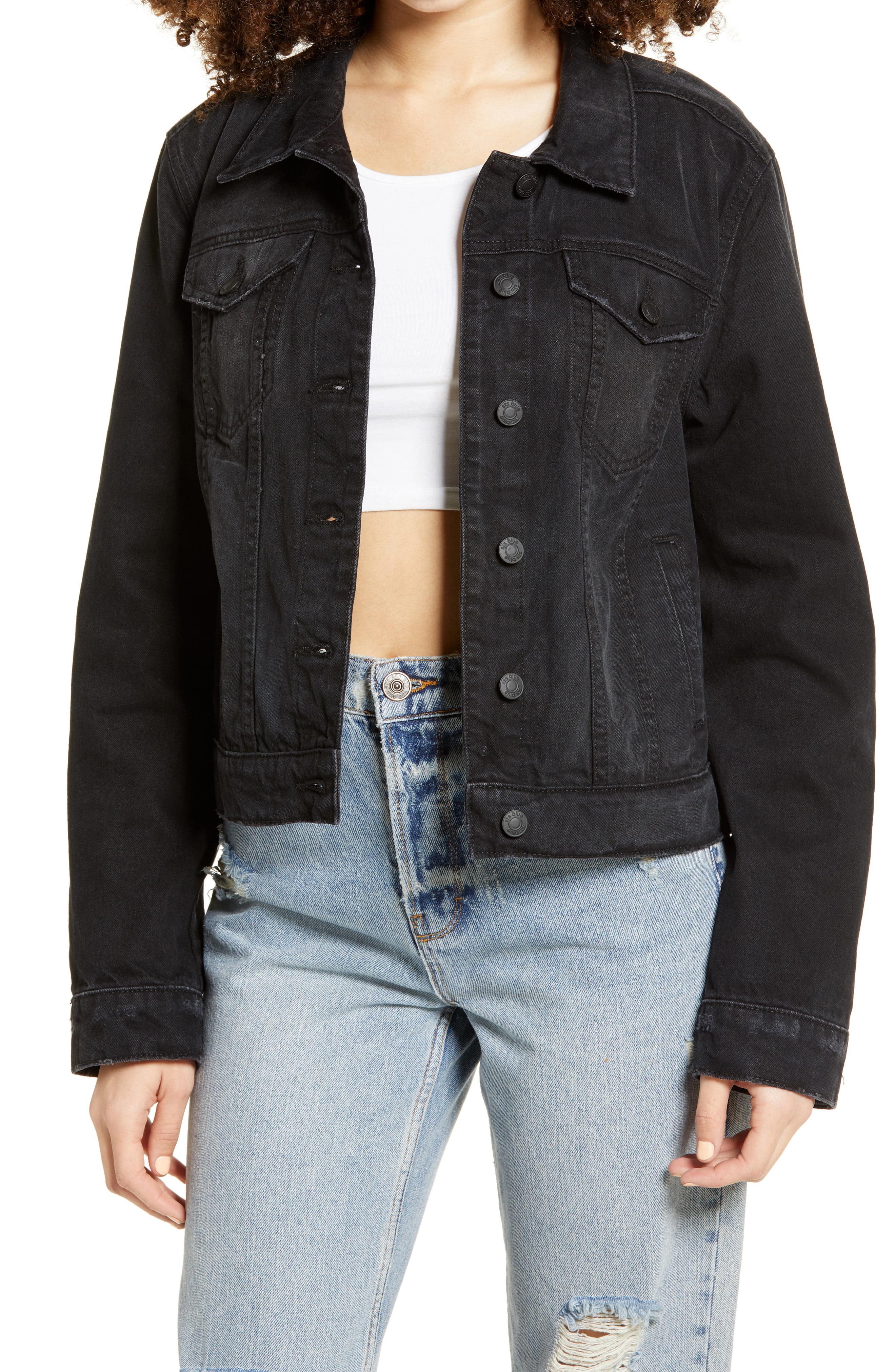 Closeup of the Melanie Boyfriend Denim Jacket on a model