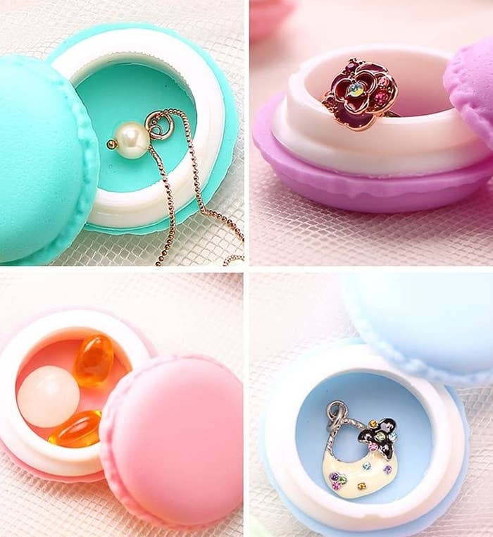 Tiny macaron boxes holding pills and jewelry