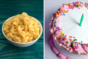 On the left, a bowl of mac 'n' cheese, and on the right, a birthday cake with sprinkles and a candle on top