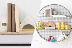 to the left: marble and gold bookends, to the left: a circular shelving unit