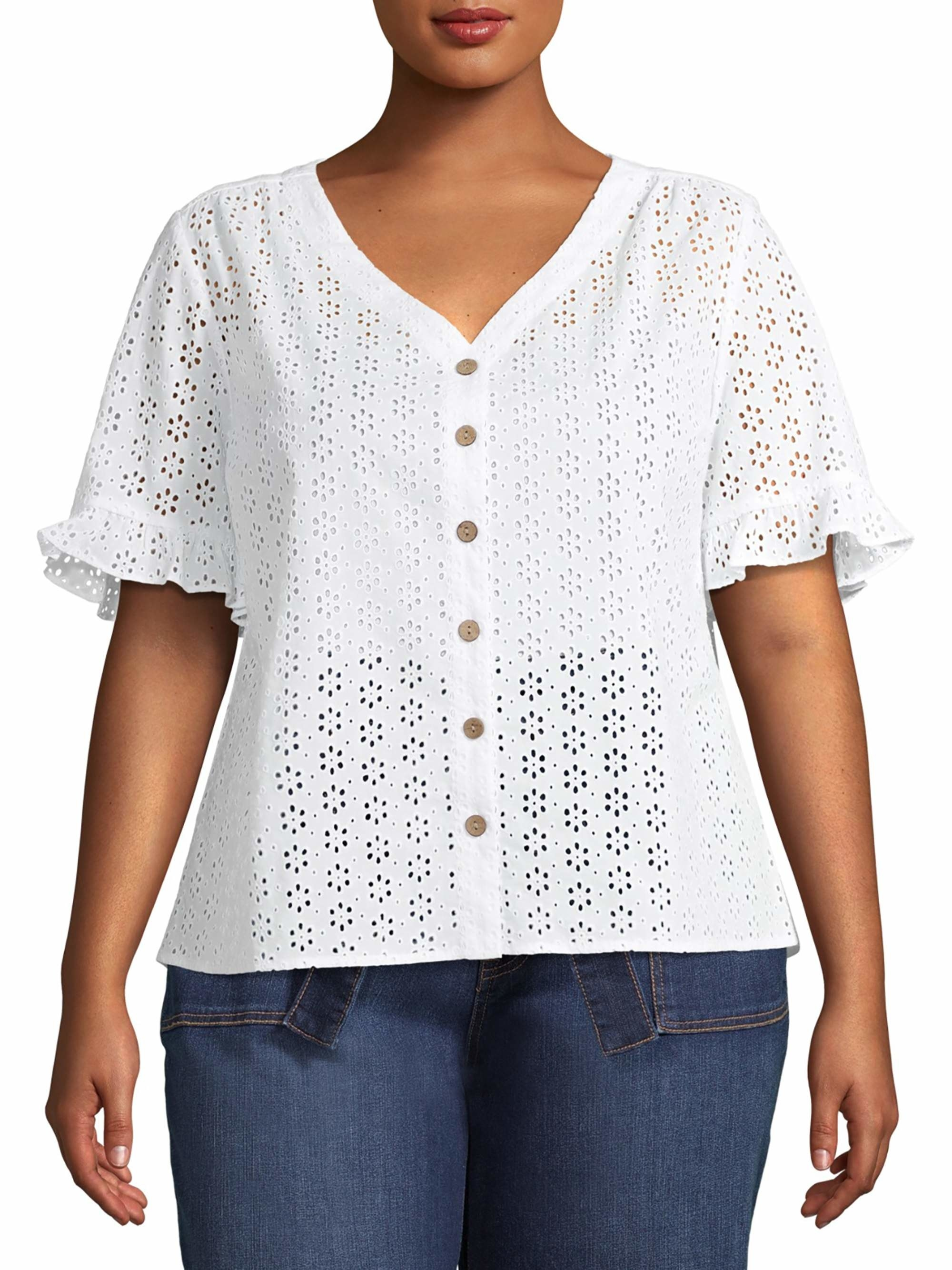 model in white eyelet top with ruffled sleeves