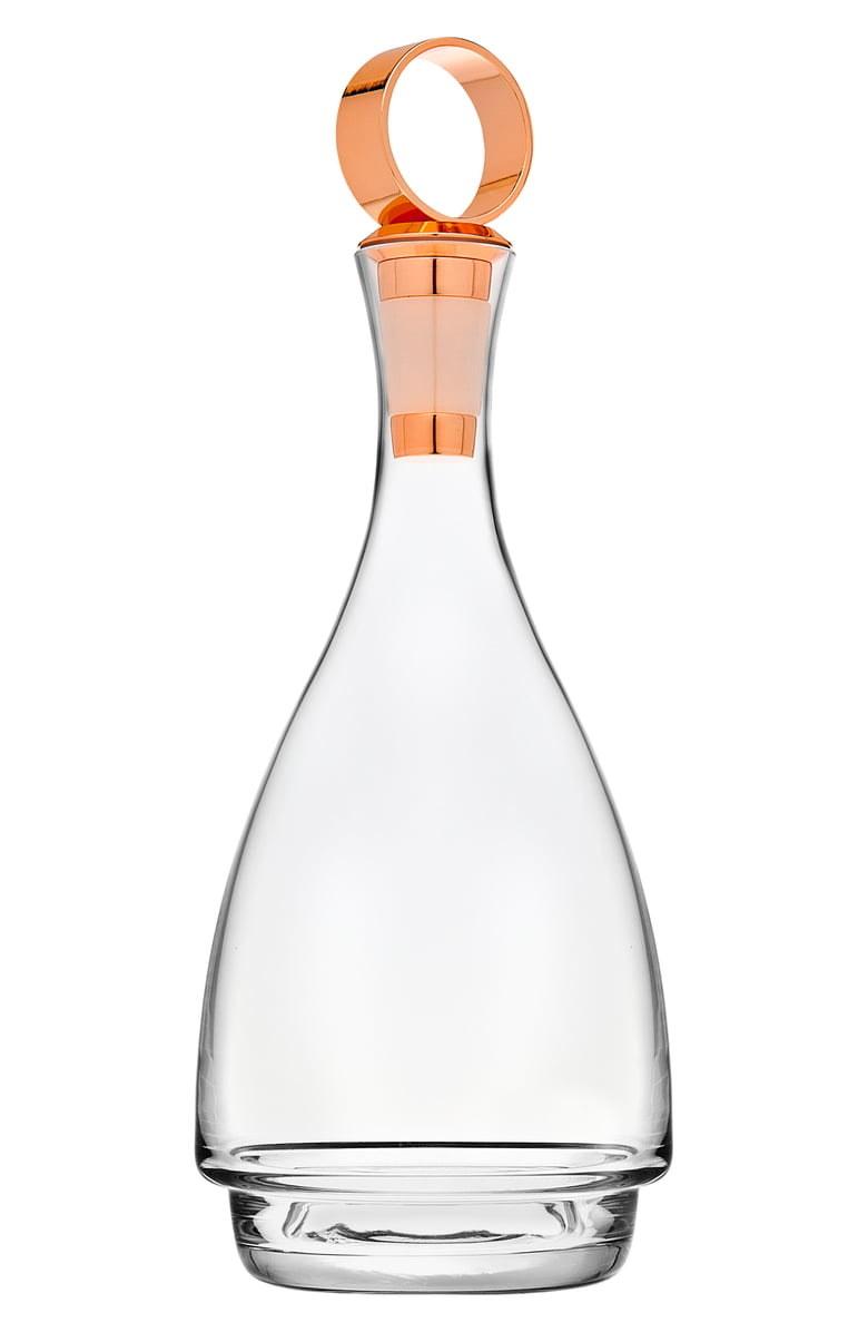 The Godinger Seville Wine Decanter with copper ring stopper