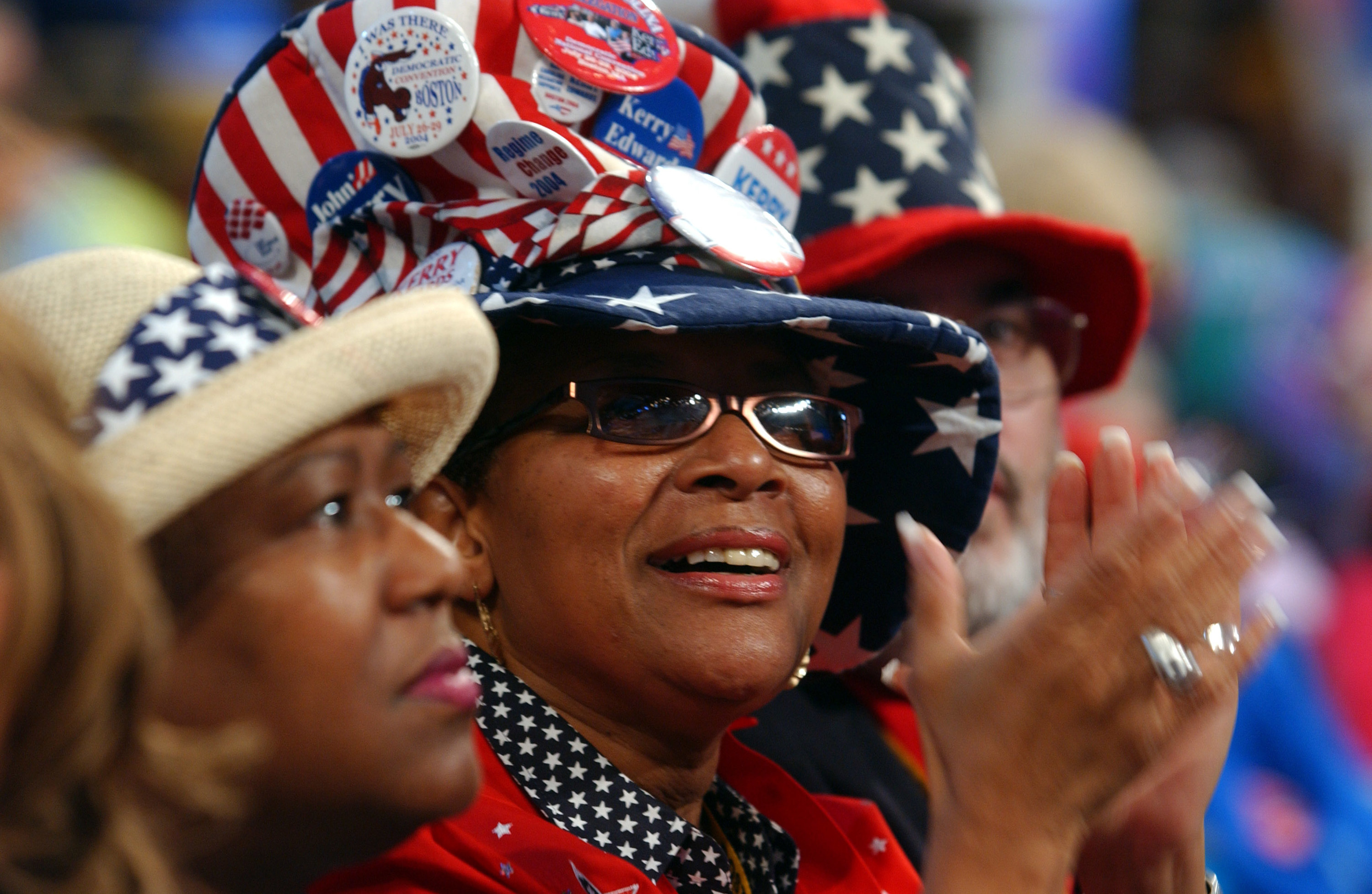 A woman in red white and blue