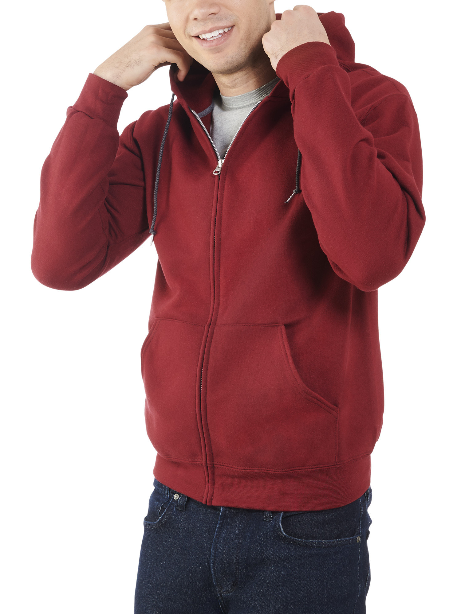 Model wearing a saffron-colored zip-up hoodie
