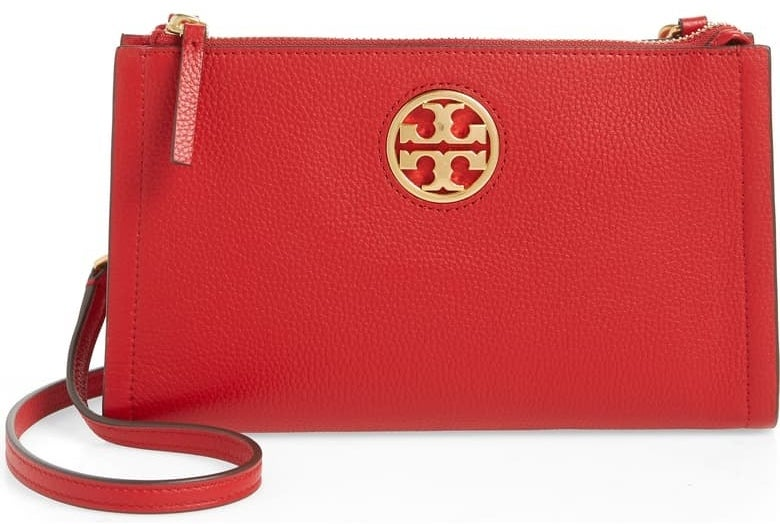 The rectangular bag in red with a gold logo in the front