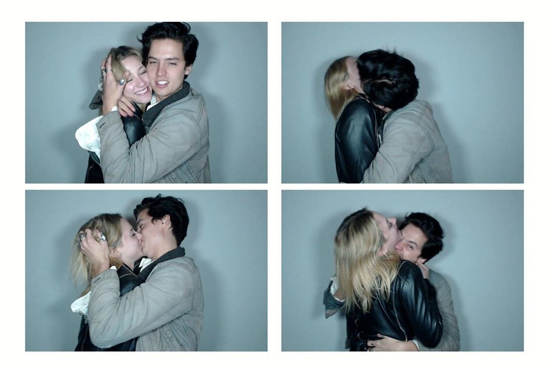 Cole Sprouse and Lili Reinhart kissing and having fun in photo booth-style pictures