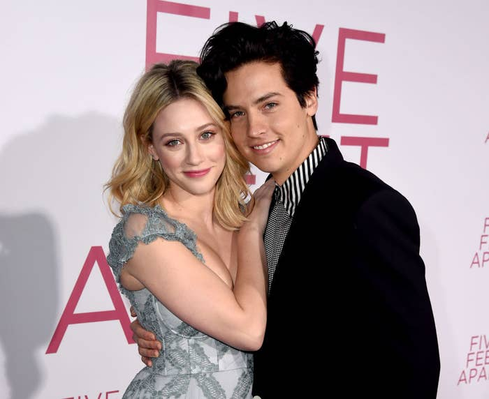 Lili Reinhart and Cole Sprouse posing together at a Hollywood event