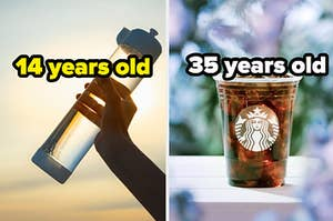 """A long water bottle labeled """"14 years old"""" on the left with a Starbucks iced coffee labeled """"35 years old"""" on the right"""
