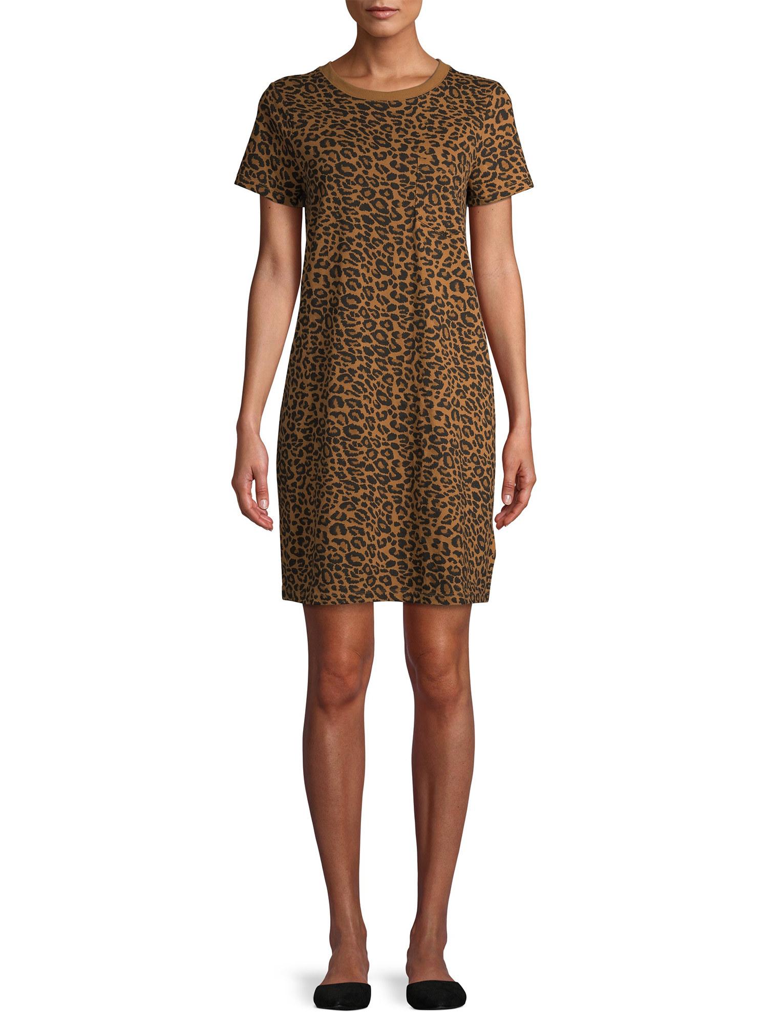 Model in a t-shirt dress in leopard print