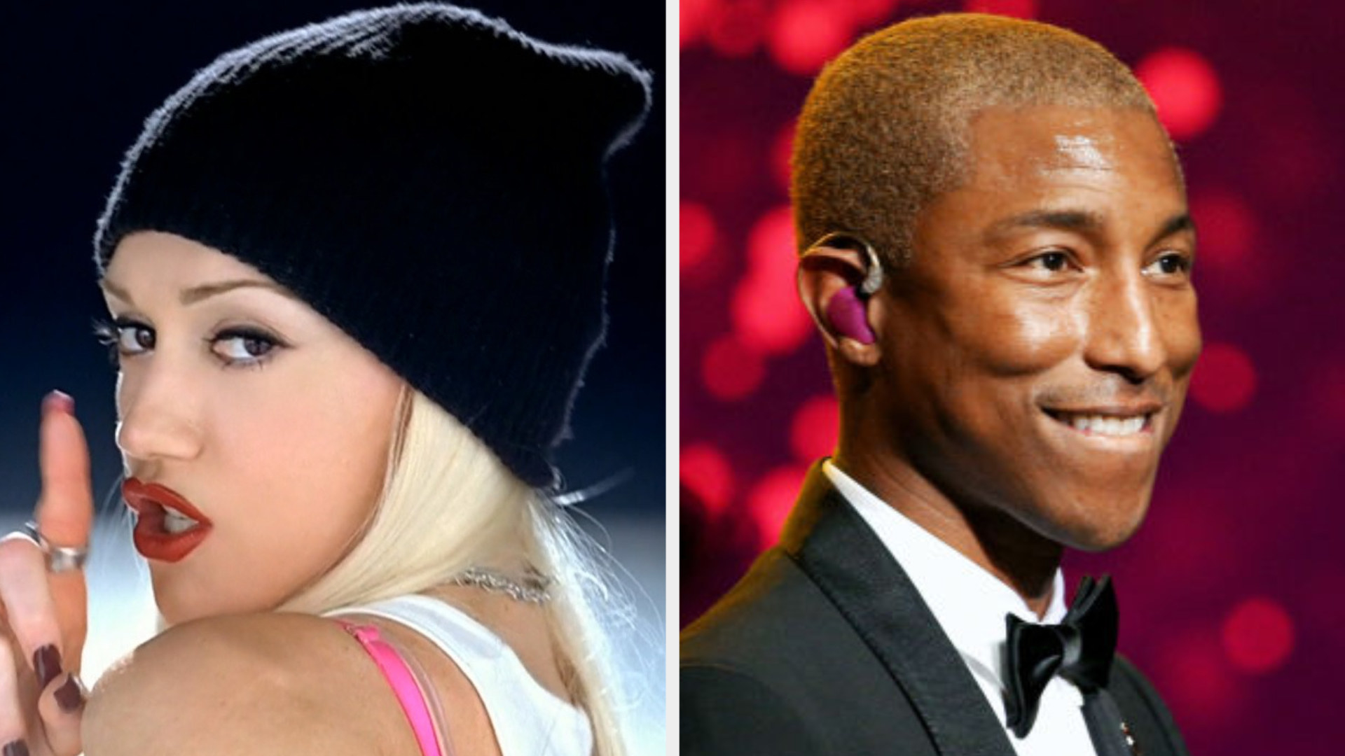 """Gwen shushing the camera in the """"Hollaback Girl"""" music video; Pharrell at an awards show"""