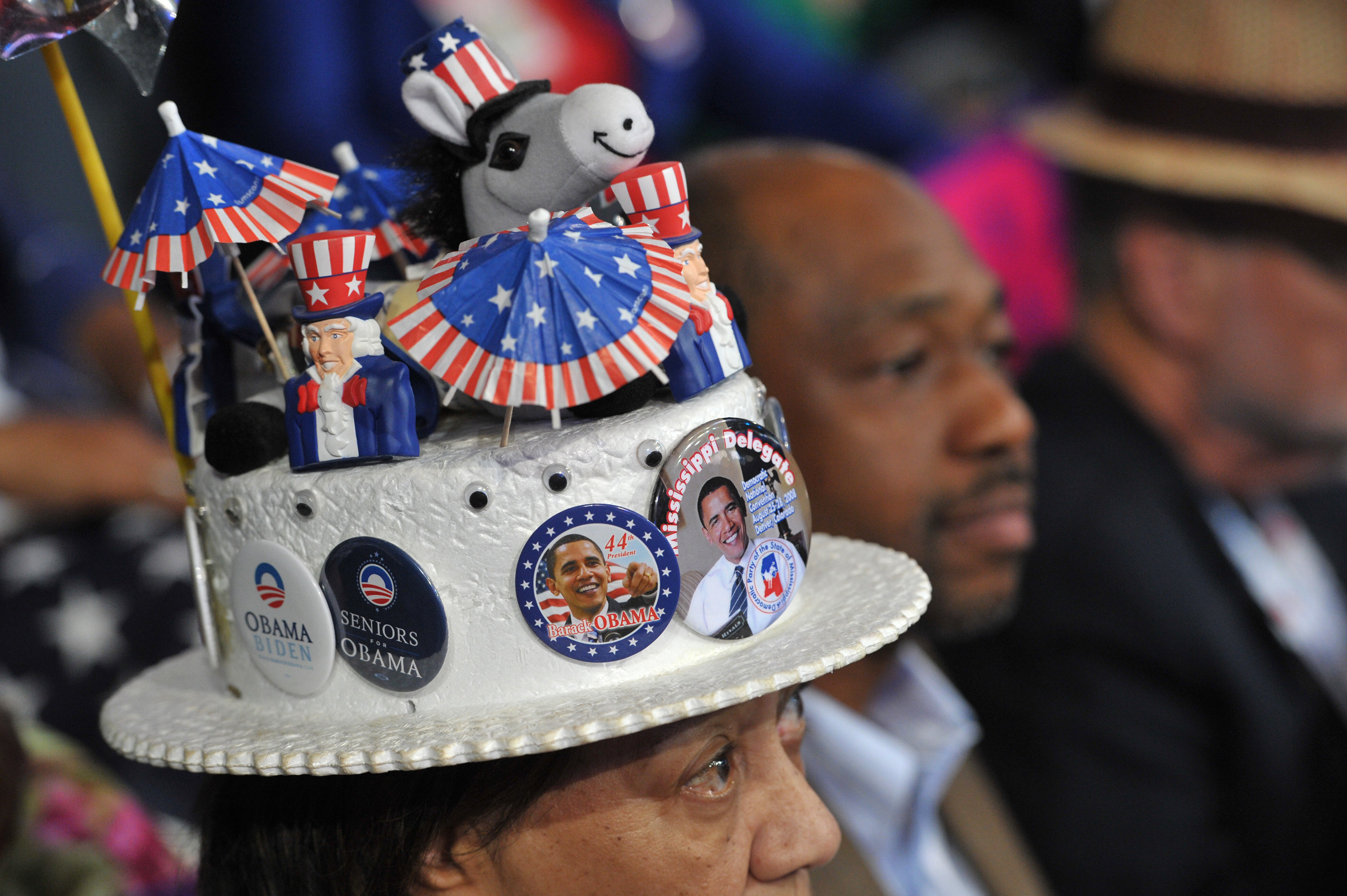 A woman with obama buttons and a small donkey on her hat