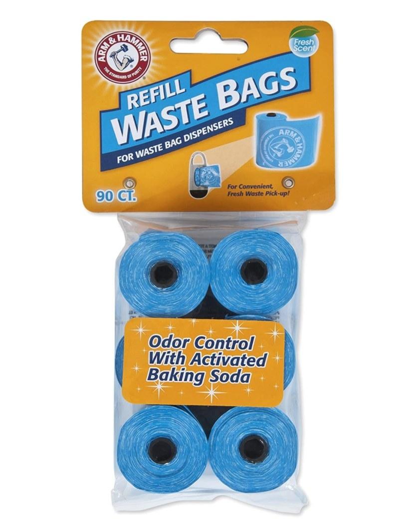 Bag of blue Arm & Hammer pet waste bag rolls