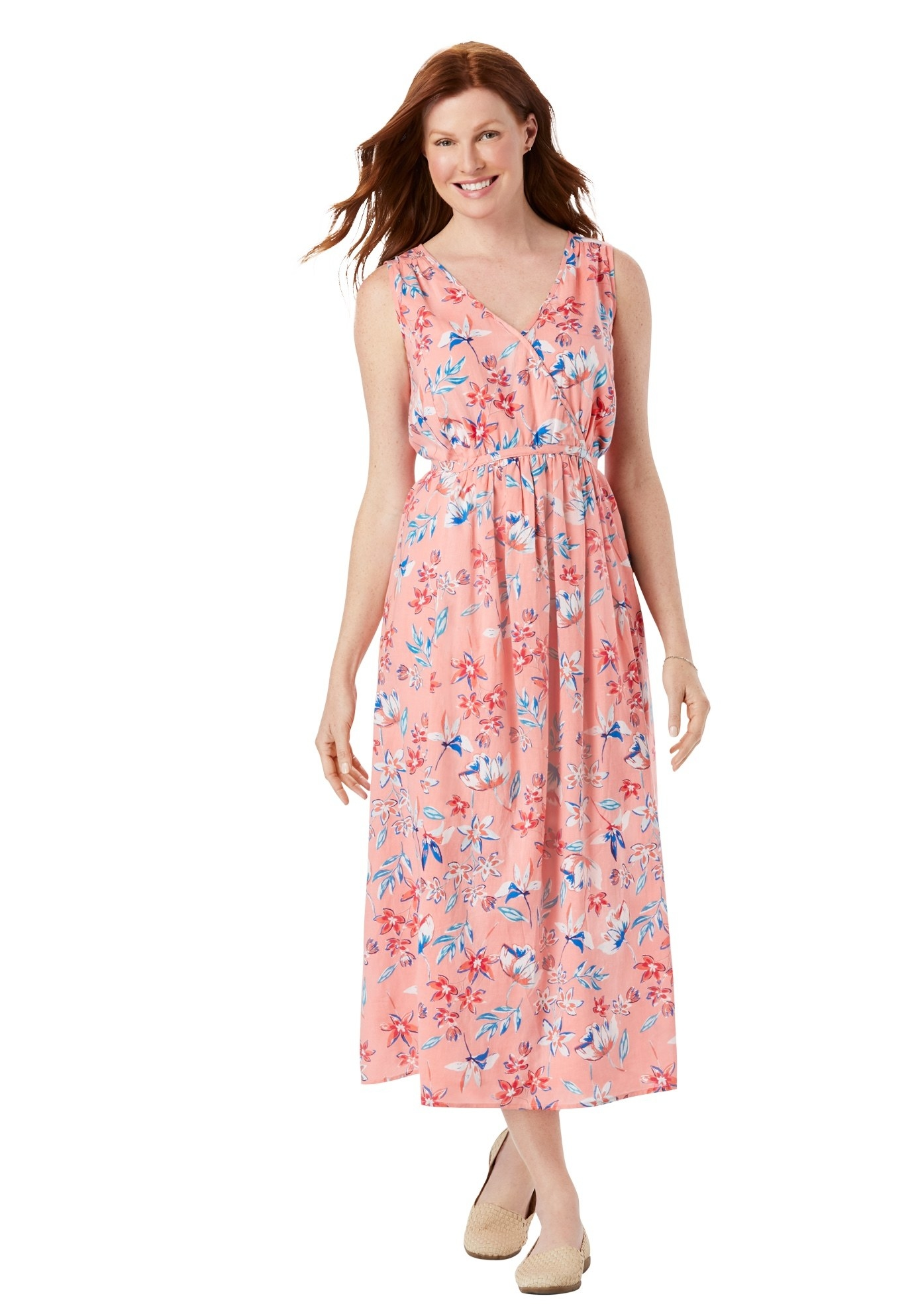 model in pink and blue floral maxi dress