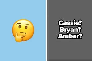 Thinking face emoji and names.
