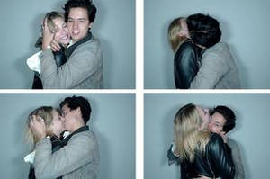 Cole Sprouse and Lili Reinhart kissing and having fun