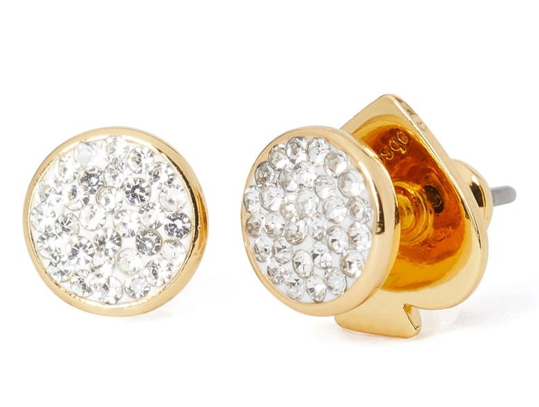 A pair of kate spade clay pavé disc stud earrings in clear/gold