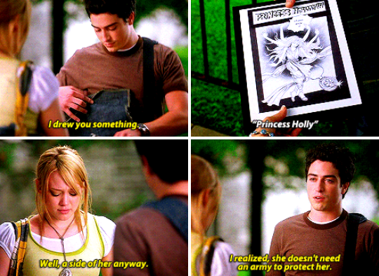 Adam removing a comic from his backpack and presenting it to Holly.