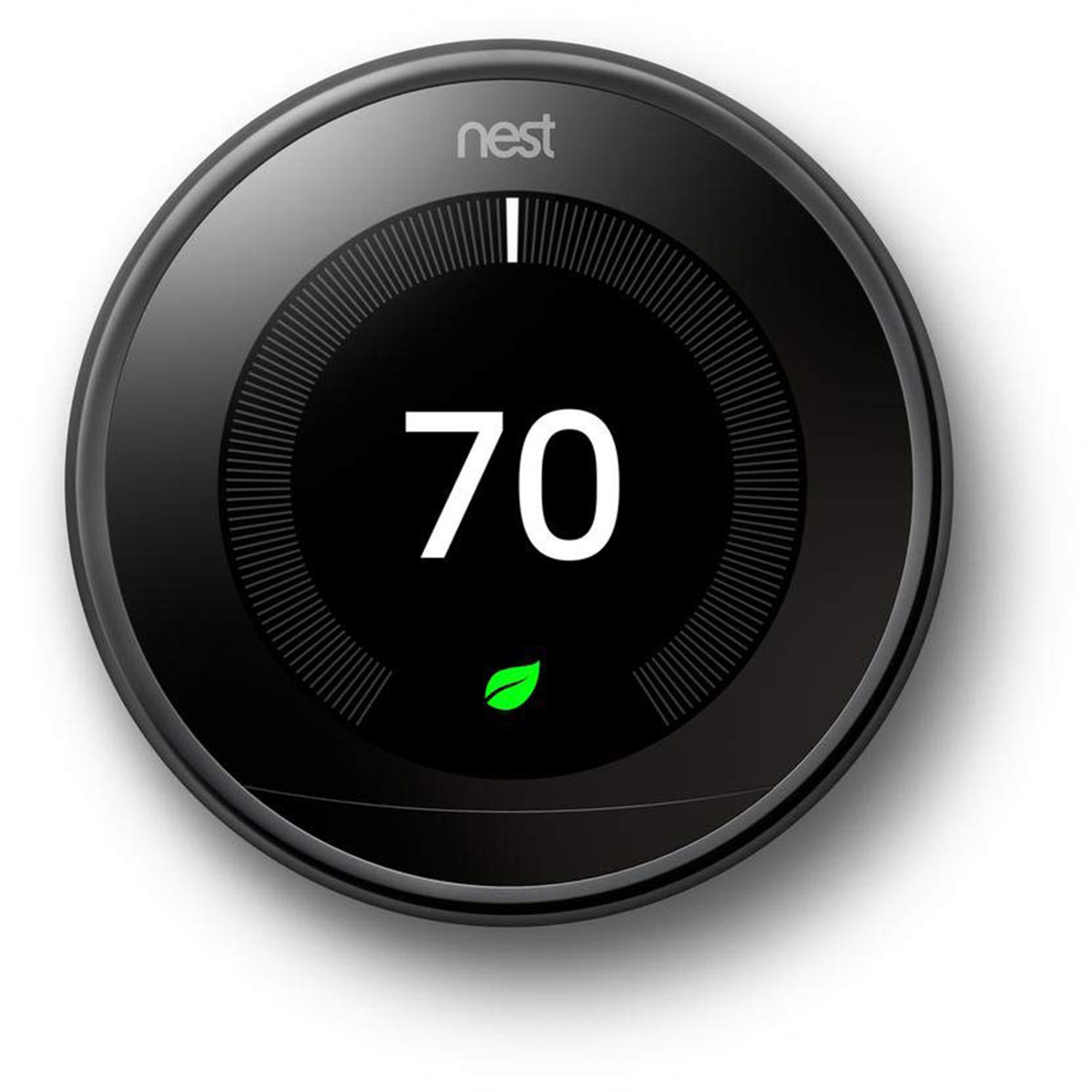 A round digital screen Nest thermostat set at 70 degrees