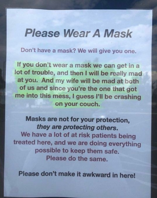 sign reading please wear a mask, don't make it awkward in here
