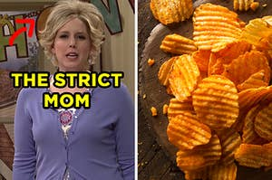 """On the left, Vanessa Bayer in an """"SNL"""" sketch with a stereotypical """"mom"""" haircut with a bold arrowing next to her face labeling her the """"strict mom,"""" and on the right, barbecue potato chips"""