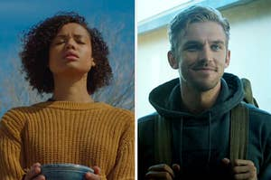 An image of Gugu Mbatha-Raw from the movie Fast Color next to an image of Dan Stevens from The Gues