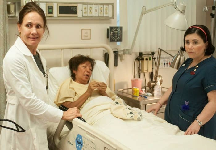 """Laurie Metcalf and Alex Borstein in """"Getting On"""""""