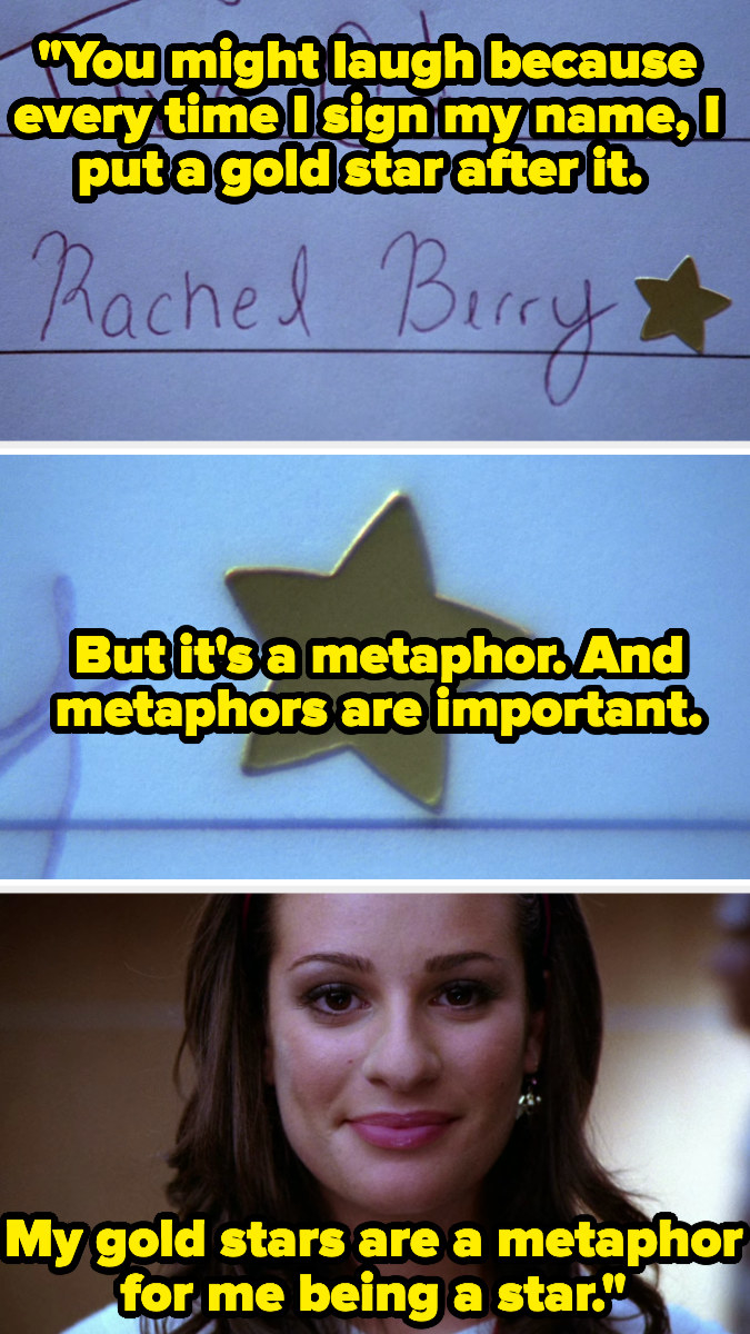Rachel explaining she puts gold stars behind her name because they're a metaphor for her being a star