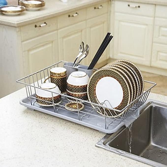 Steel dish drying rack.