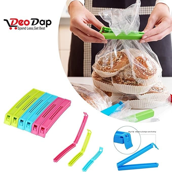 A person using the multicoloured food clips to seal a bag with bread