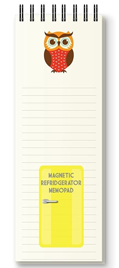 A striped yellow notepad with an owl printed on top