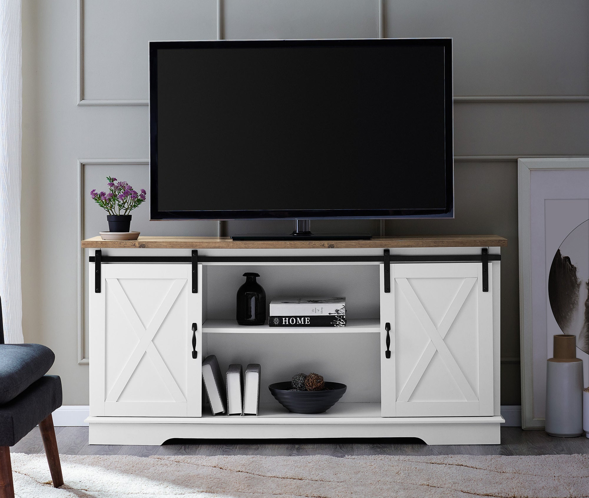 the white farmhouse style tv stand