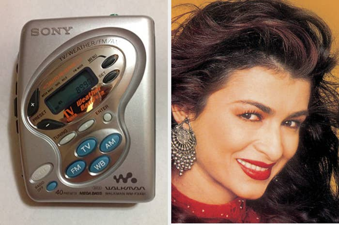 A picture of a 90s Sony walkman along with an image of an Indian pop star named Anaida.