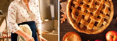 Meryl Streep is baking on the left with an image of apple pie on the right