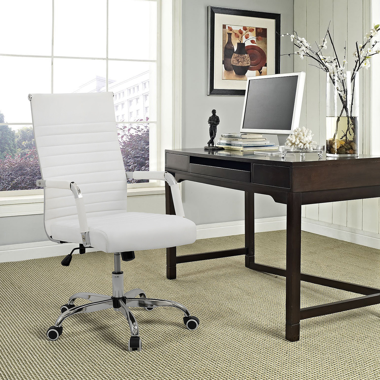 a white desk chair on wheels