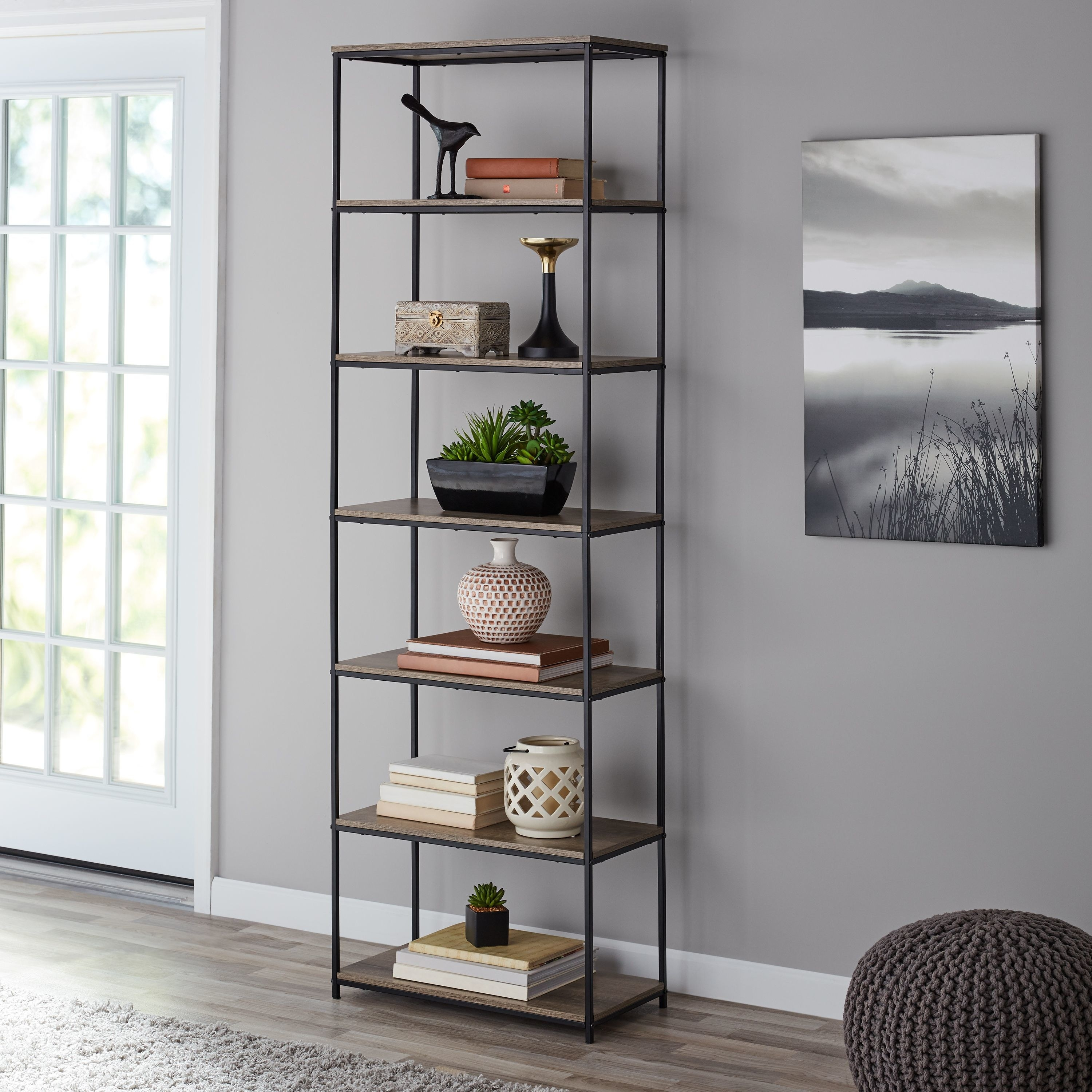 the open bookcase with six shelves