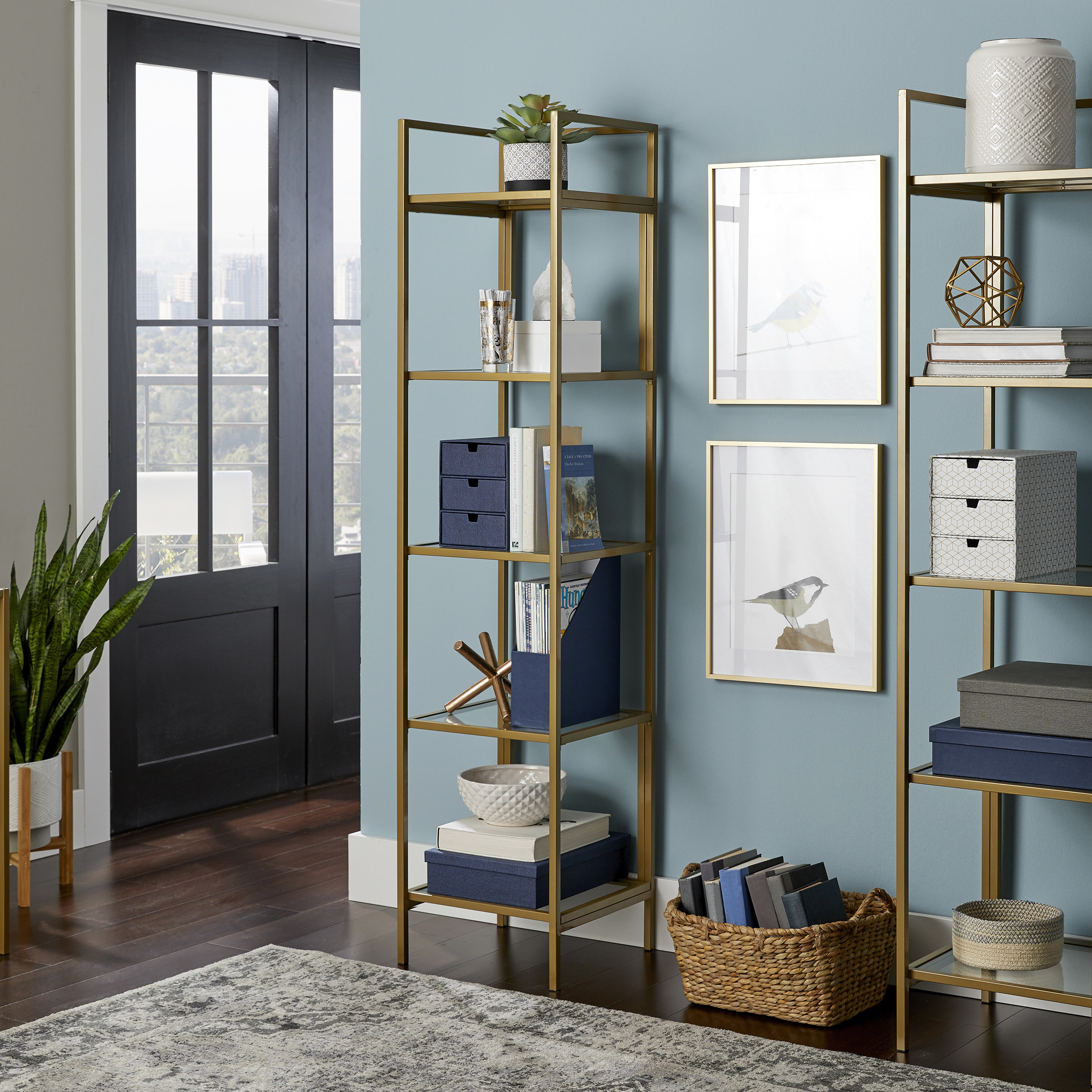 tall gold shelving with four built in shelves