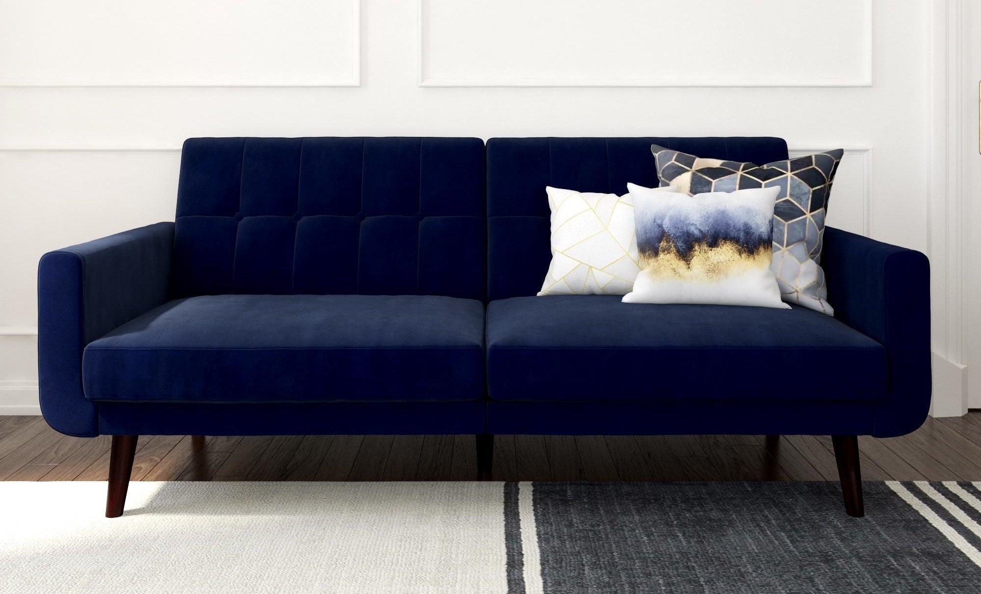 a velvet blue couch