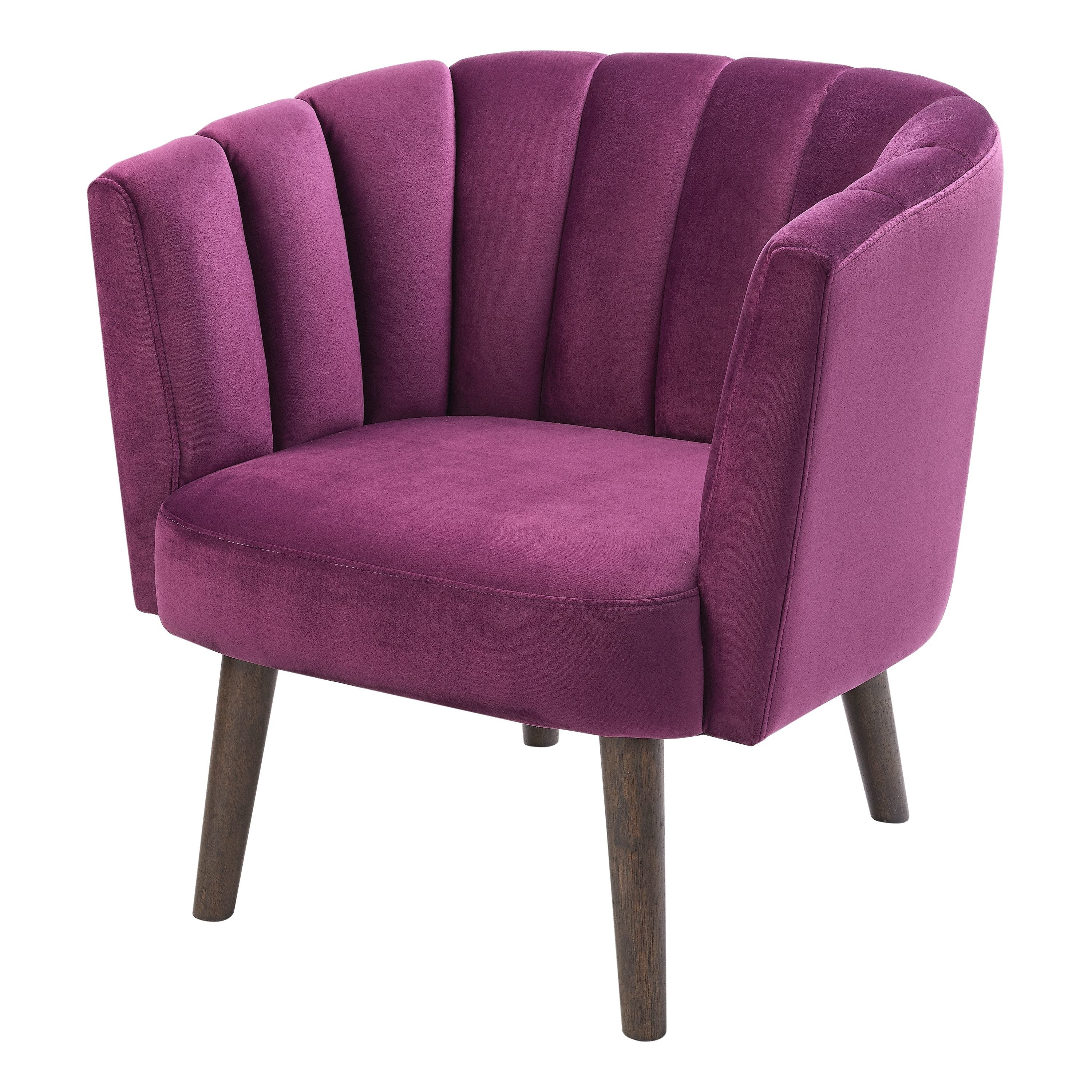 a curved chair in purple with brown wooden legs