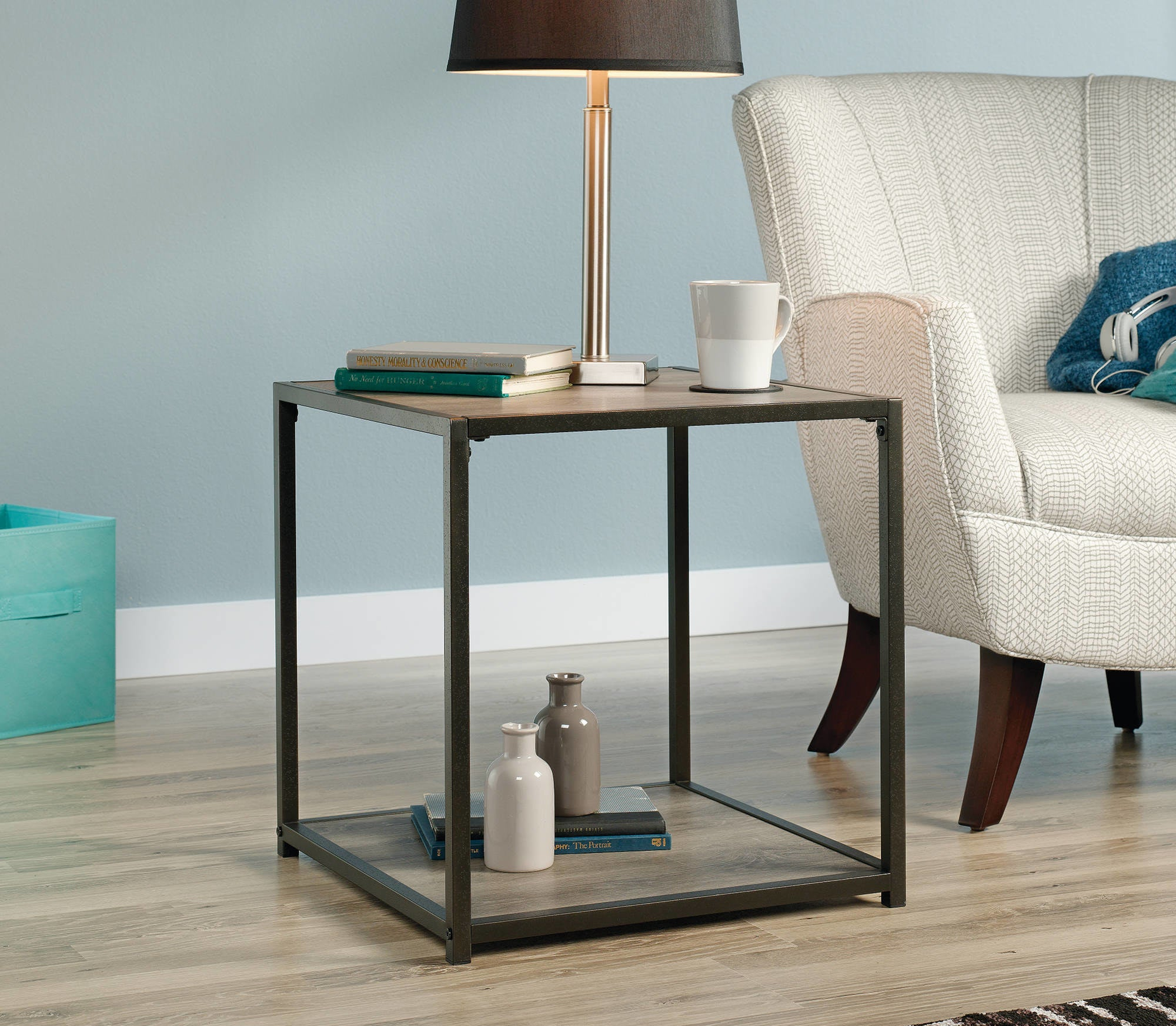 the side table in dark brown